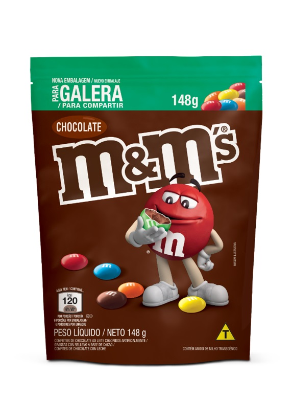 M&M S CHOCOLAT AO LEITE POUCH 148G CX/24