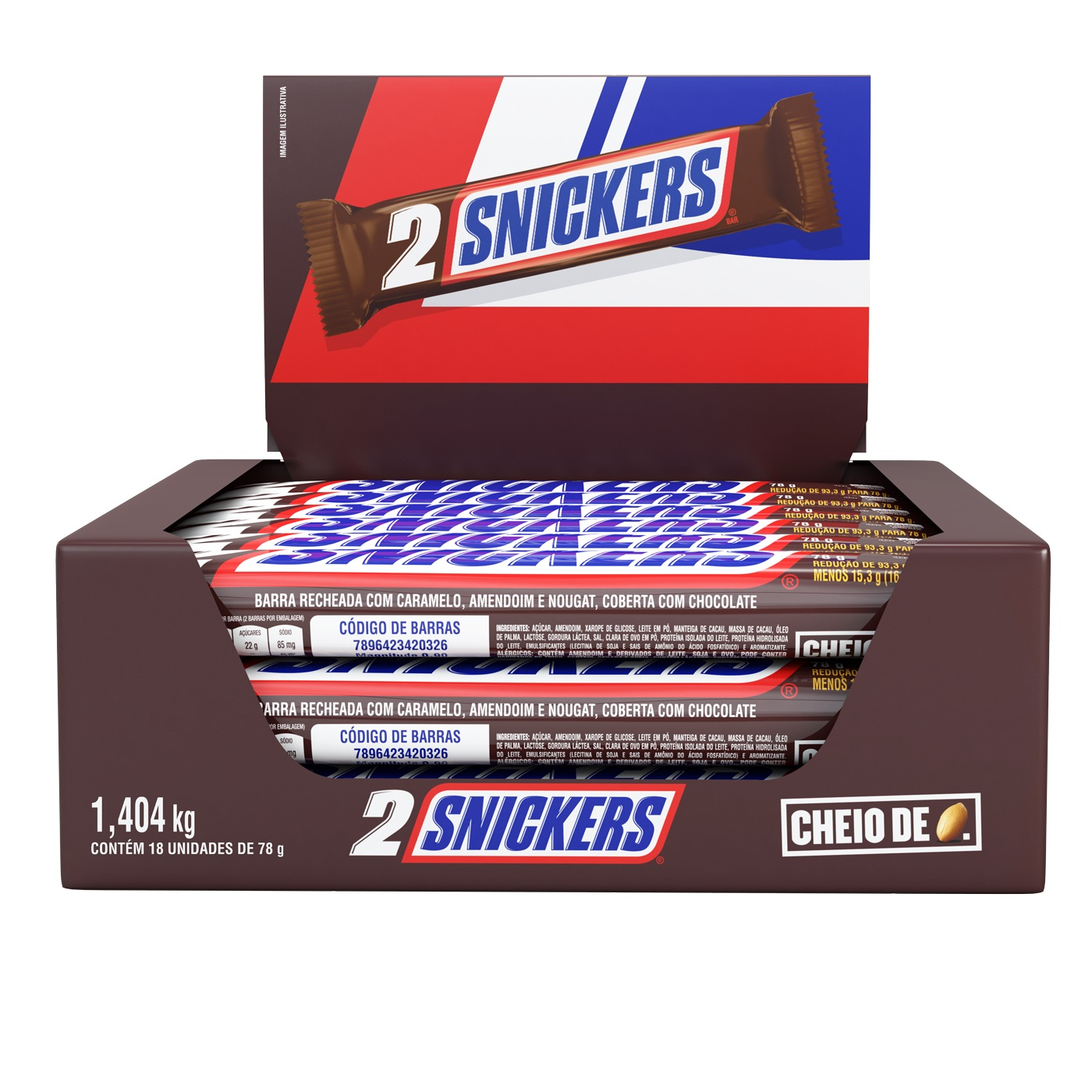 SNICKERS 2 BARRAS DP18 X 78G CX/6